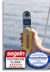 SM28 Skymate Pro pocket weatherstation and wind meter test 2008 in the magazine segeln